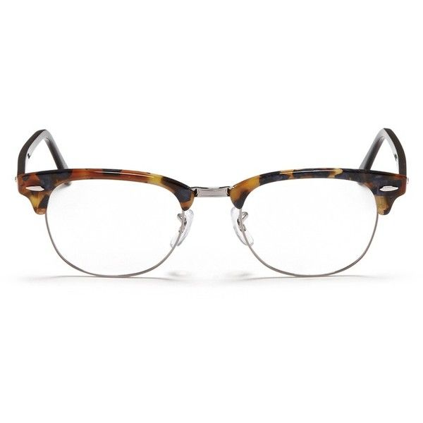 5a56c103e7 Ray-Ban  Clubmaster Fleck  tortoiseshell acetate browline optical... ( 200)  ❤ liked on Polyvore featuring accessories