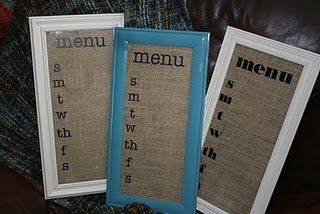 menu boards also made from old frames (spray painted) and burlap. too cute!