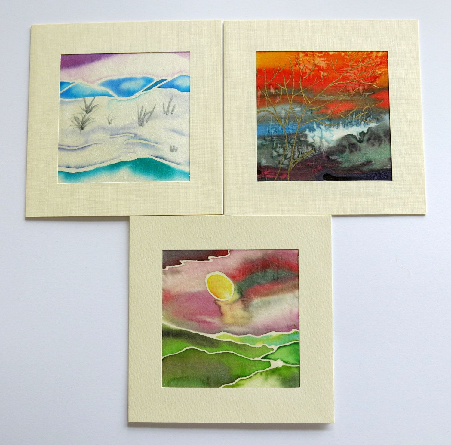 Set Of 3 Cards Landscape Cards Blank Cards Greeting Cards