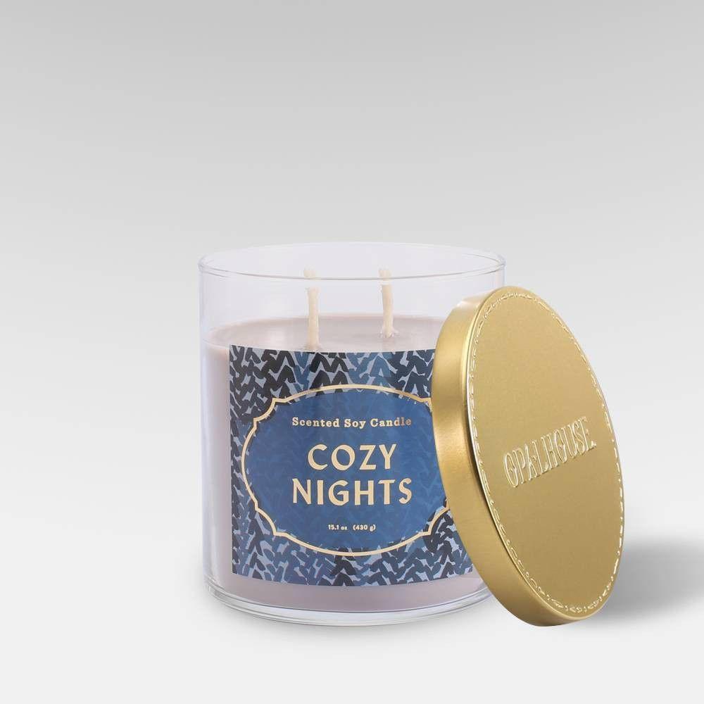 15 1oz Lidded Glass Jar 2 Wick Candle Cozy Nights Opalhouse Cozy Candles Candles Candle Night
