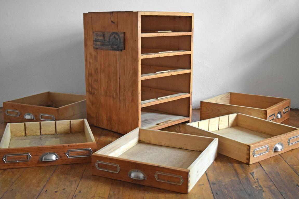 Details zu Schubladenschrank Antik Werkstattschrank Vintage Fabrik ...