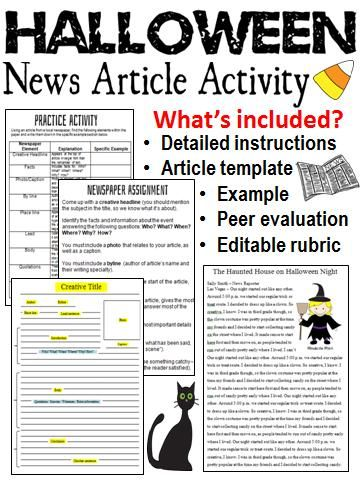 halloween writing newspaper article prompts template editable