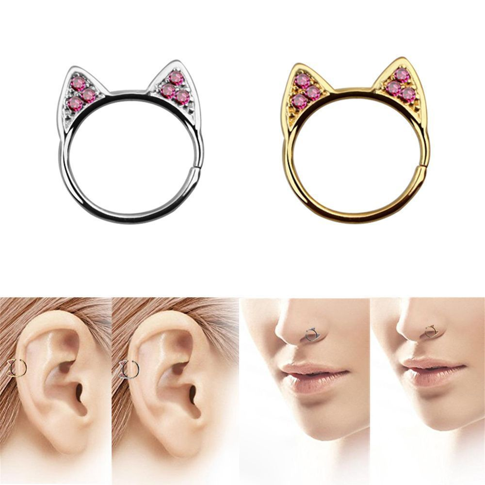 Piercing nose at home with needle    Steel Zircon Body Jewelry Cat Ear Studs Non Piercing Nose