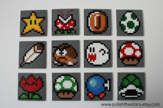 Super Mario Coasters Set of 12 perler beads by PolishTheStars
