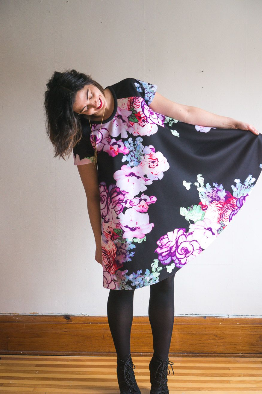 b101f14c Ebony Tee pattern //Raglan sleeve swing dress pattern in scuba knit // Closet  Case Patterns