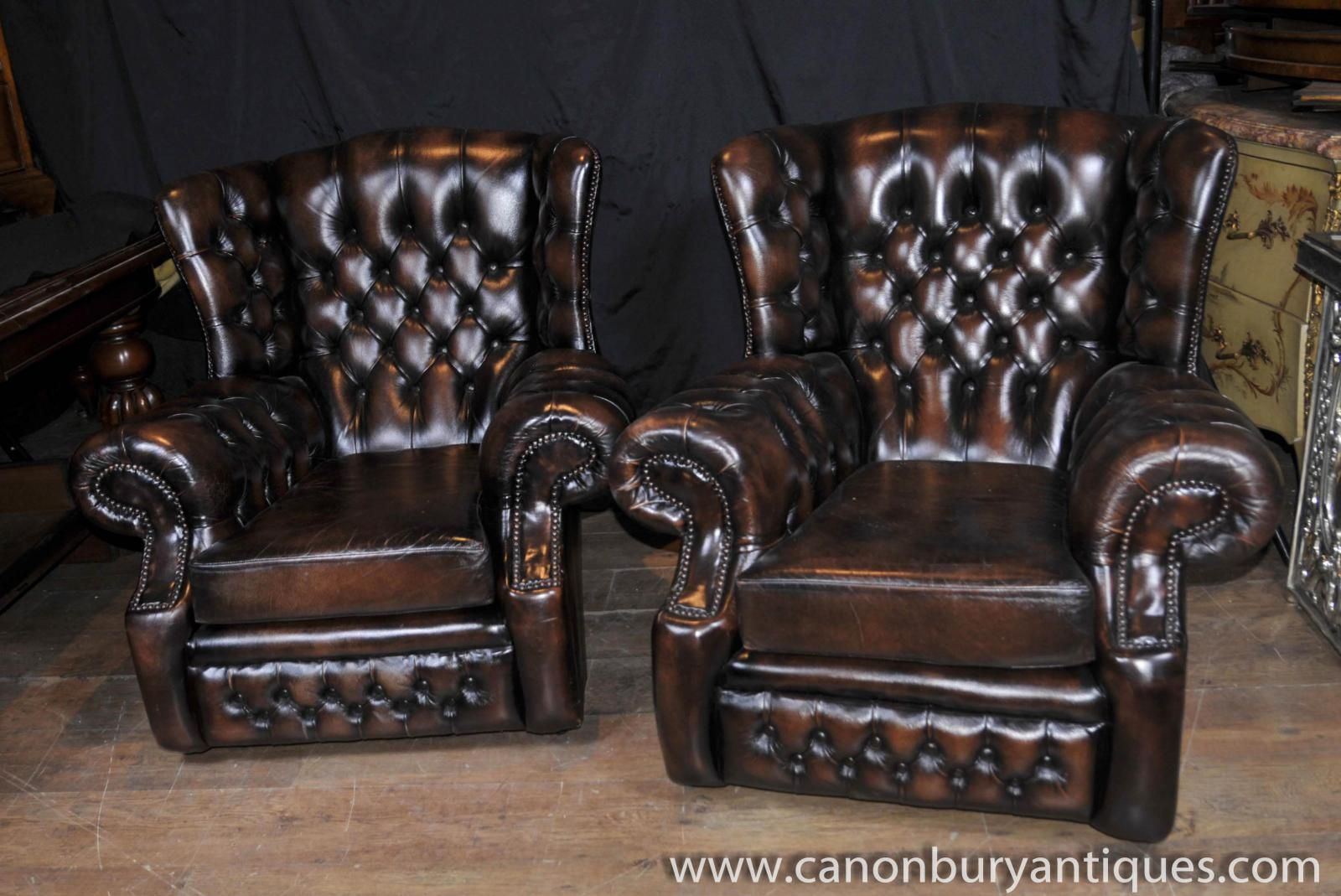Photo of Pair Victorian Wingback Leather Sofas English Arm Chairs