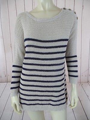 ANN TAYLOR LOFT Sweater L Beige Navy Striped Knit Linen Cotton Blend NAUTICAL!