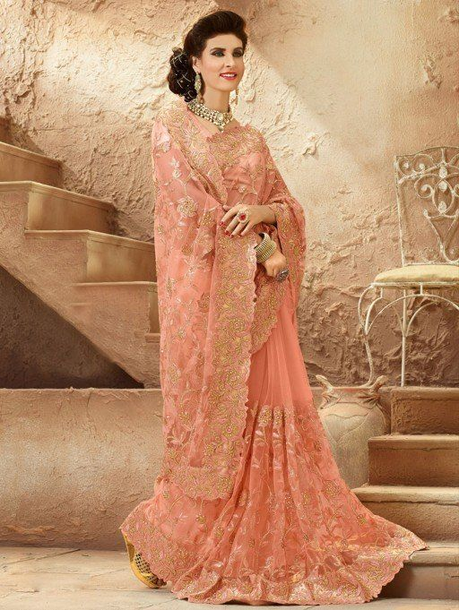Peach Soft Net Saree With Resham Embroidery Work Wedding Saree