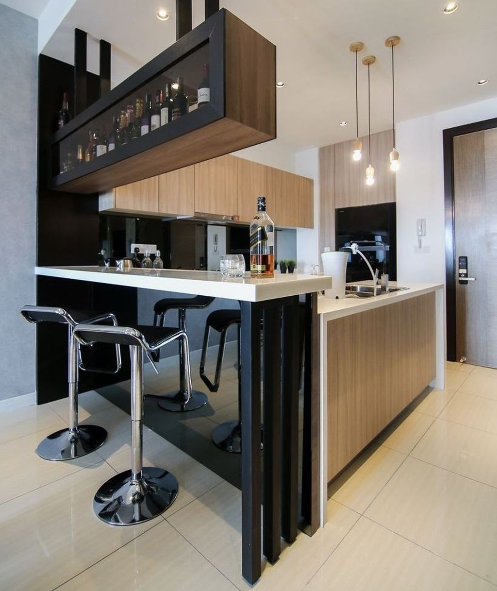 Awesome 48 Lovely Small Kitchen Bar Design Ideas For Apartment Kitchen Bar Design Small Modern Kitchens Modern Kitchen Bar