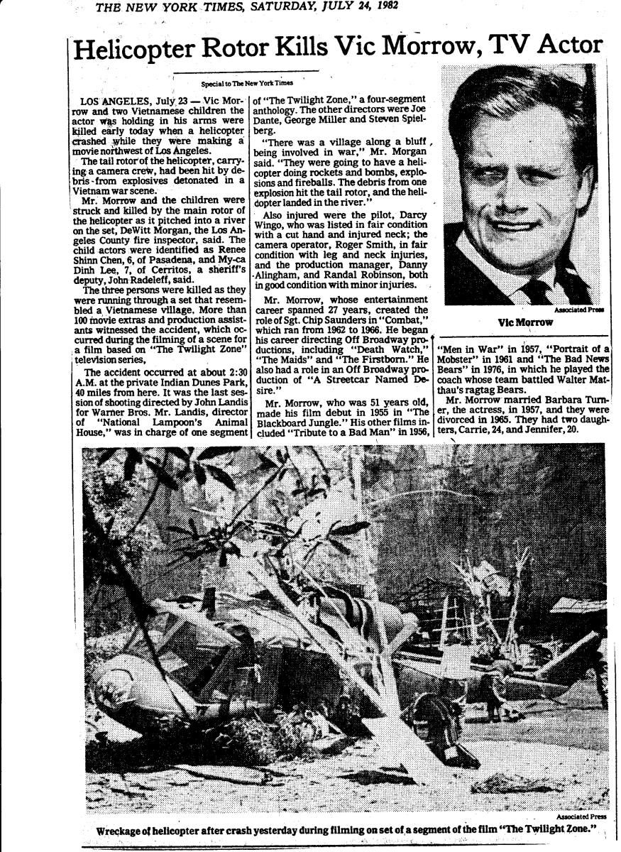 Newspaper Reporting Accident Vic Morrow Helicopter Bing