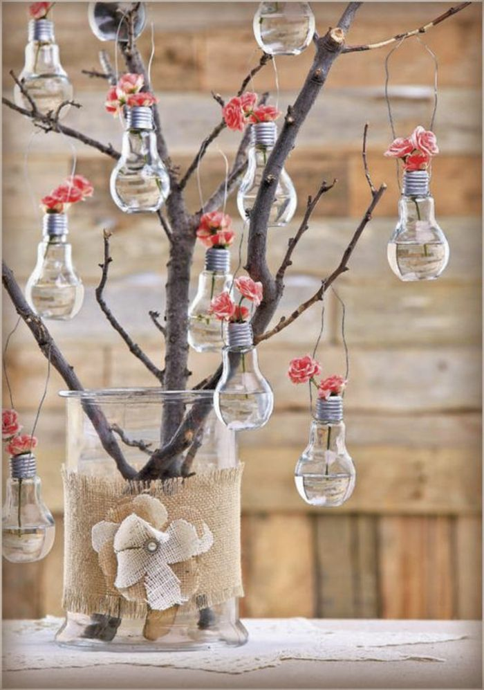 Glühbirne Deko glühbirne deko große vase leinen blumen hängende binrnen ideen