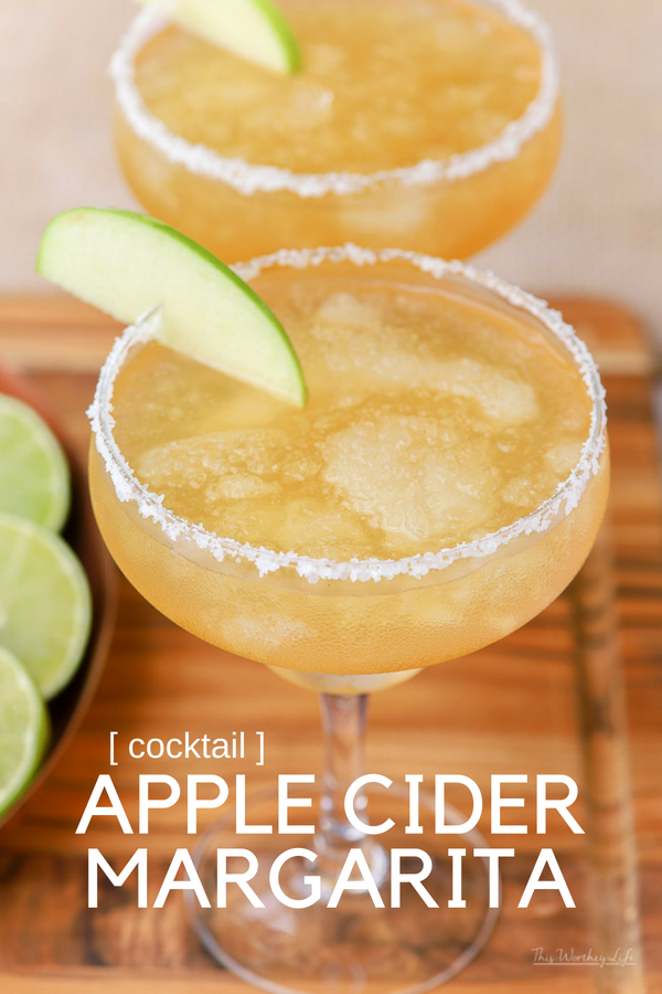 Fall is just around the corner, and with it comes all things apple cider. We're putting a twist on the classic margarita with more tequila, lime juice, and tons of apple cider to make an Apple Cider Margarita! Grab the recipe on the blog! #margaritas #applecider #drinks #falldrinks