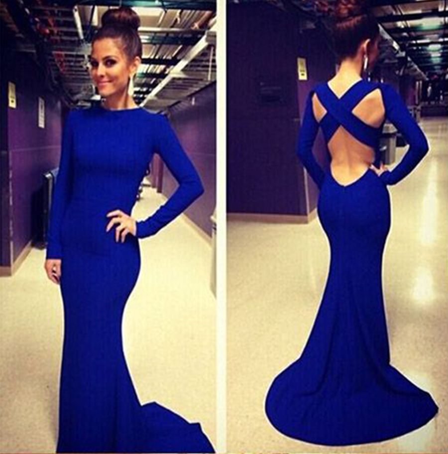 Open Back White Prom Dresses With Long Sleeves Tight Backless Royal ...