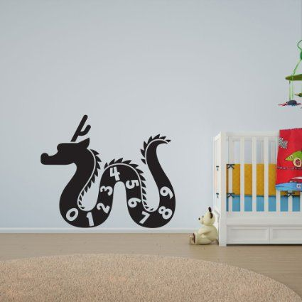 Dragon numbers vinyl wall art decal for kids and childrens nursery amazon co