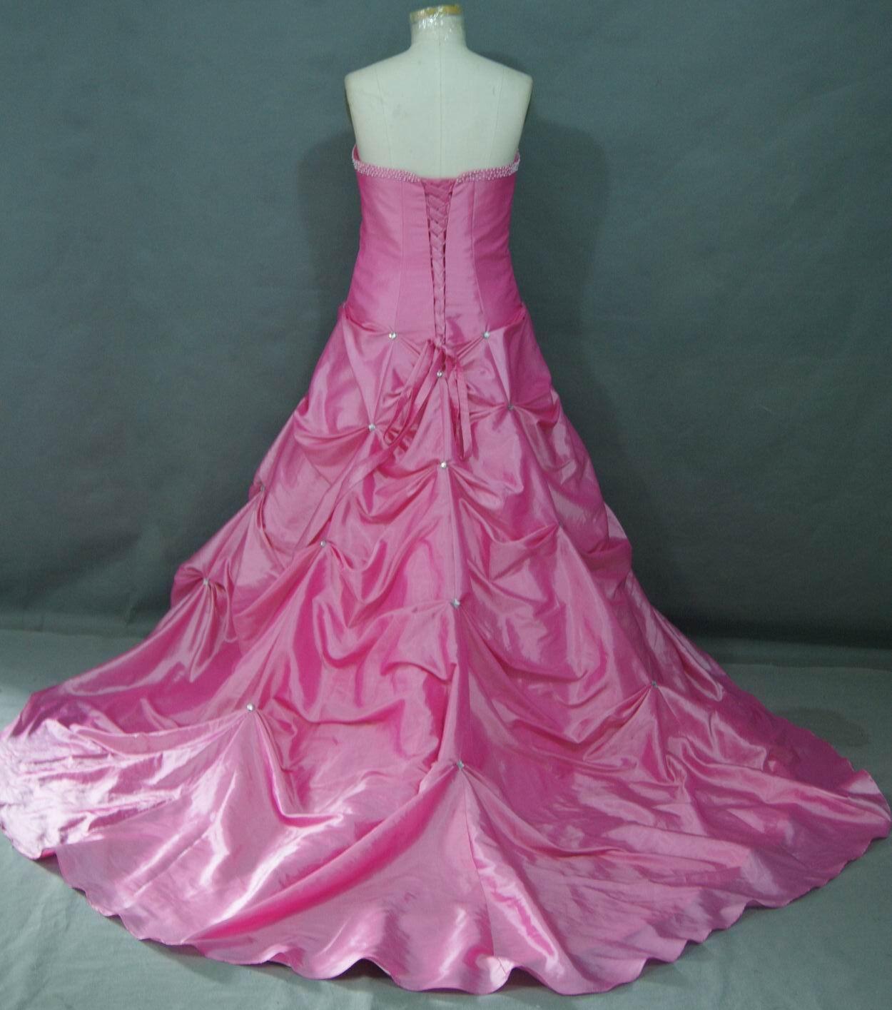 long Bubblegum pink dress with train | Wedding ideas | Pinterest ...