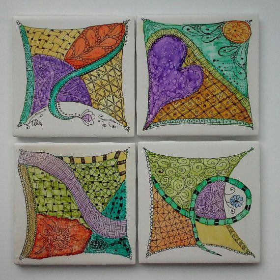 While exploring ways to take my alcohol ink one step further I discovered Zentangle. I love the simplicity of the lines and the peace of mind while concentrating one stroke at a time.  My hand painted colorful alcohol ink tiles come in sets of 4. Each set is vibrantly painted in similar colors, however each tile is unique. Tiles are given 6 light coats of protective seal. The back of the tiles are painted a matching color and felt pads are added to protect your furniture. To clean please…