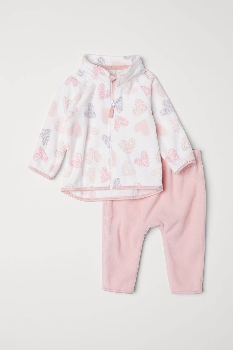 Fleece Jacket and Pants - Light pink/hearts - Kids  H&M US