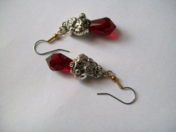 Christmas Santa Earrings by VintagePlusCrafts on Etsy, $10.00