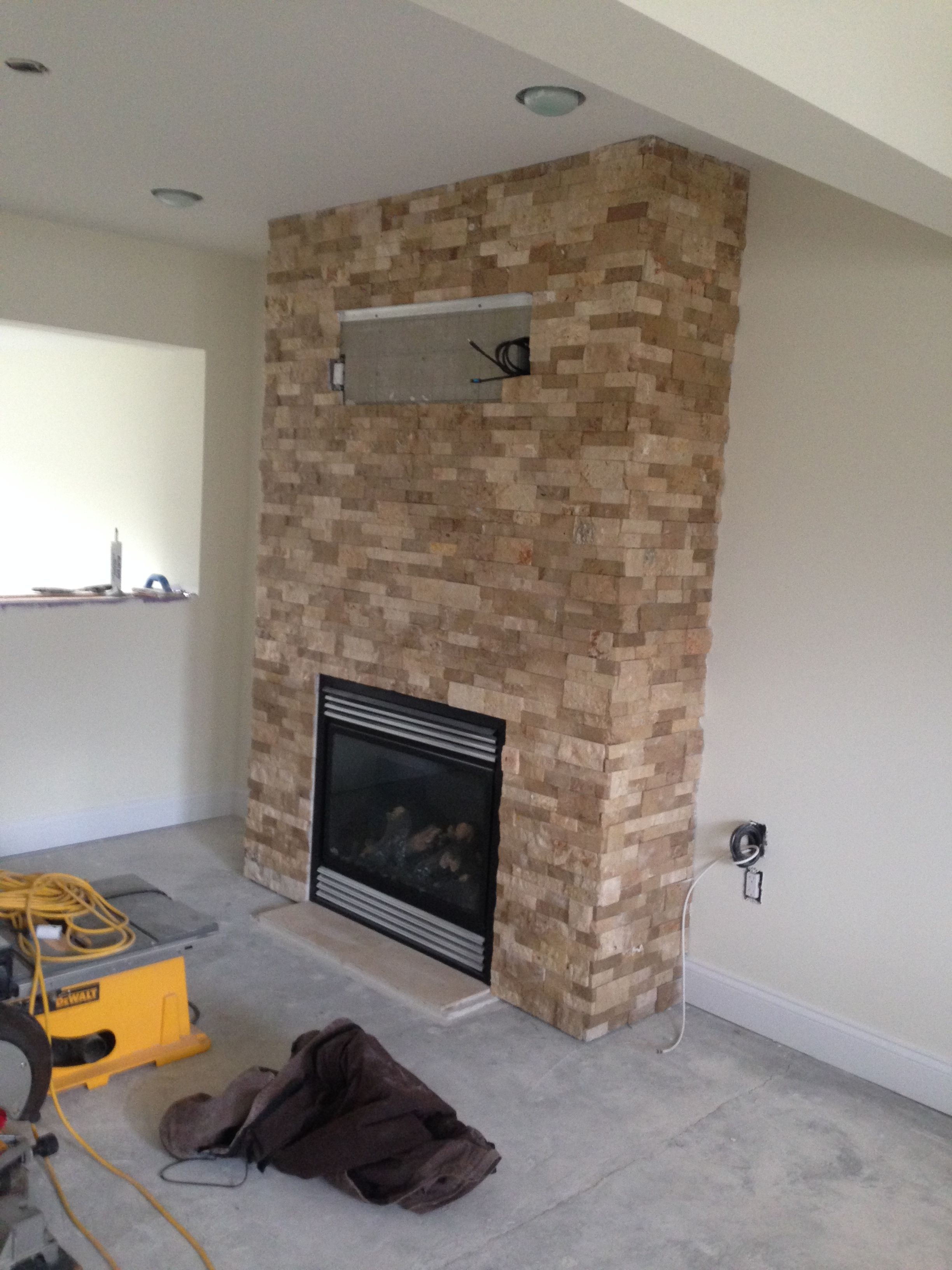 Roman Beige Ledger Stone Accent Wall And Fireplace Surround. Brown  Travertine Ledger Stone, Stone