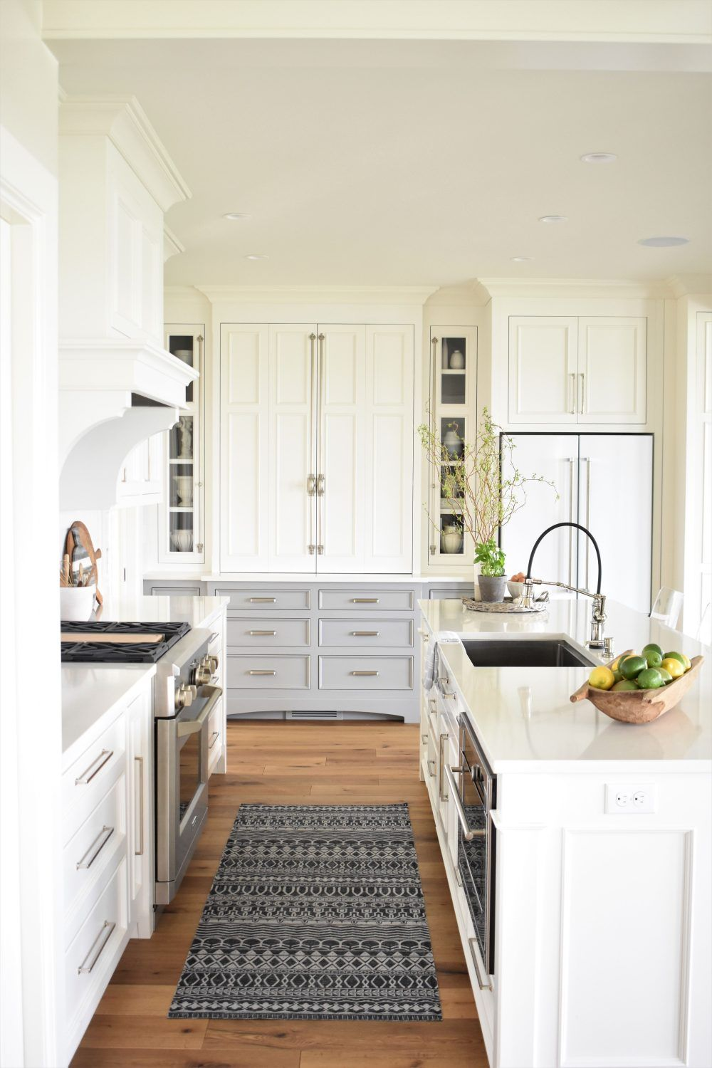 White upper cabinets, soft gray lowers nice fresh kitchen | Momma\'s ...