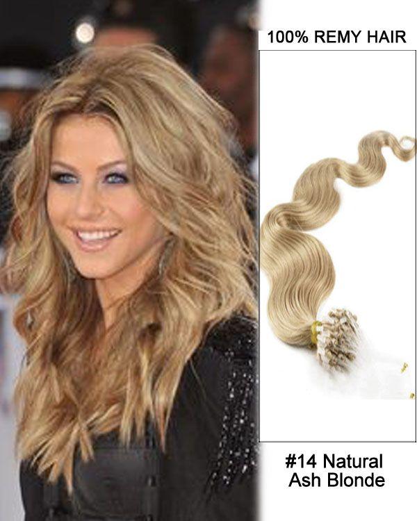 16 14 Natural Ash Blonde Body Wave Micro Loop 100 Remy Hair Human