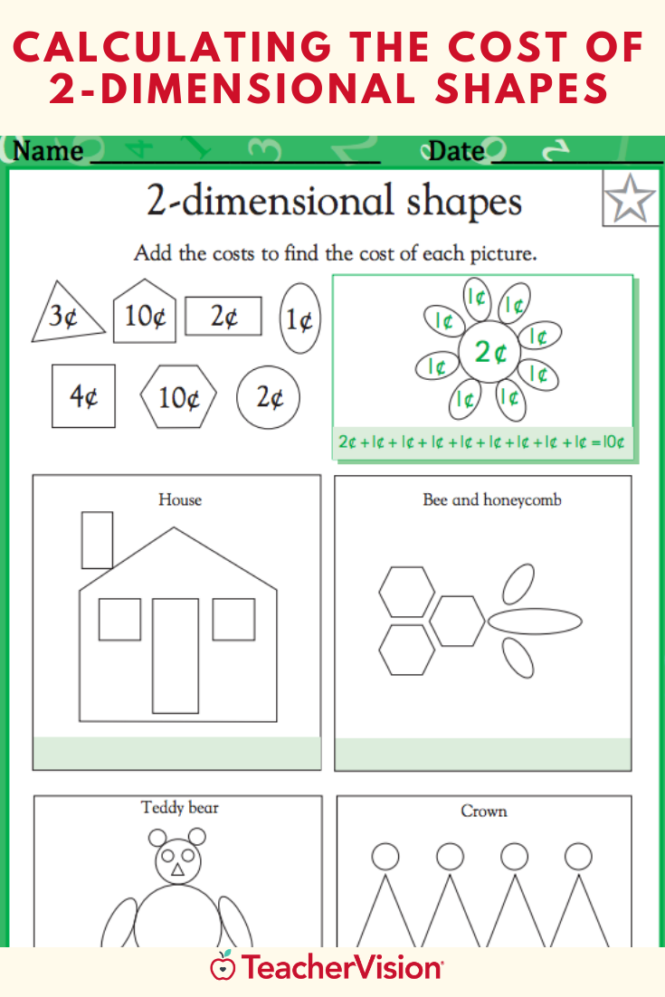 Calculating the Cost of 2-Dimensional Shapes Worksheet (Grade 1)   Shapes  worksheets [ 1102 x 735 Pixel ]