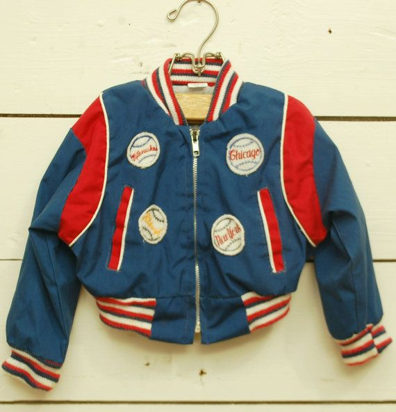 vintage BASEBALL PATCHES baby toddler jacket windbreaker red white ...