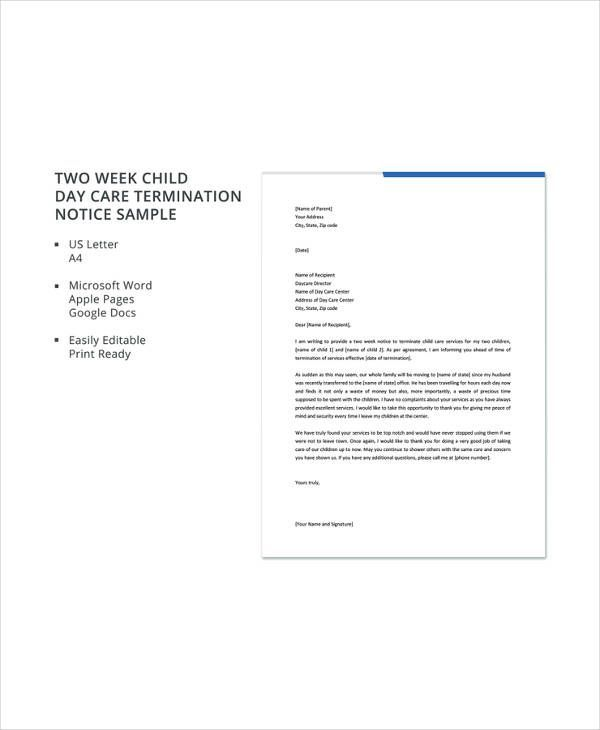Daycare Termination Letter Templates - 13+ Free Sample, Example - sample termination letters