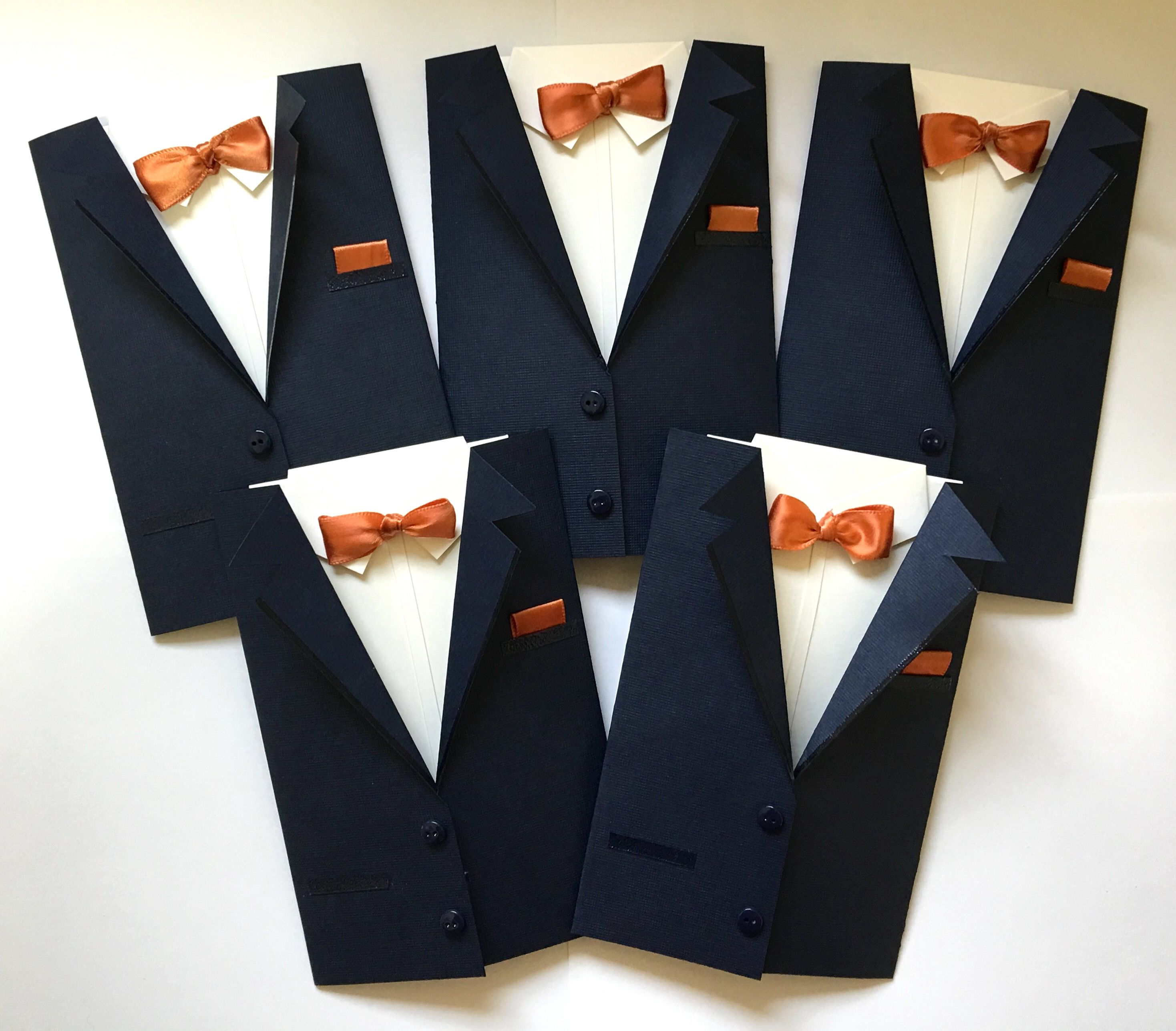 Handmade Groomsman Suit Invite A2 Size Greeting Cards Navy Suits