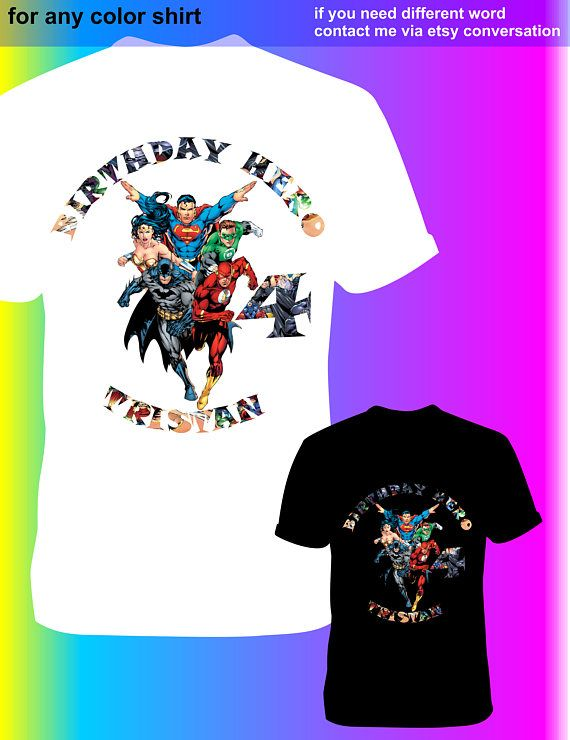Justice League Iron On Transfer Birthday Shirt DIY For Any Color