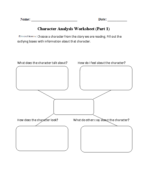 Character Analysis Worksheet Part 1 | Reading-Student Activities ...