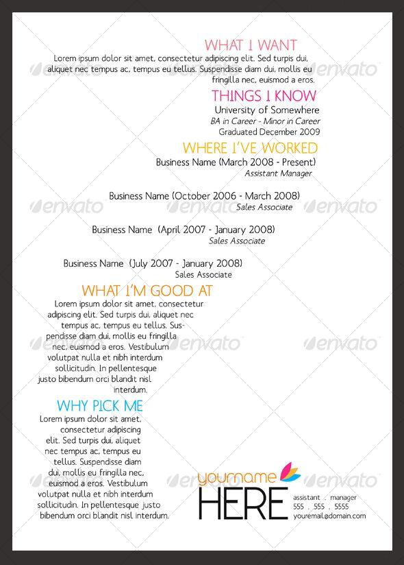 curriculum vitae creativo Resume ideas Pinterest Yearbooks - one page resume format