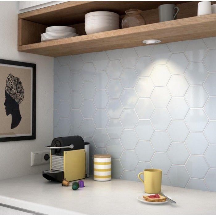 carrelage mural fa ence scale hexagon 10 couleurs hexagnoe 12 4x10 7cm carrelage mural. Black Bedroom Furniture Sets. Home Design Ideas