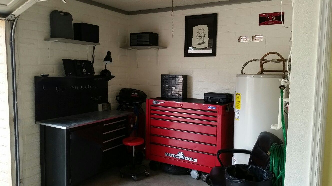 hight resolution of dad s finished garage workspace
