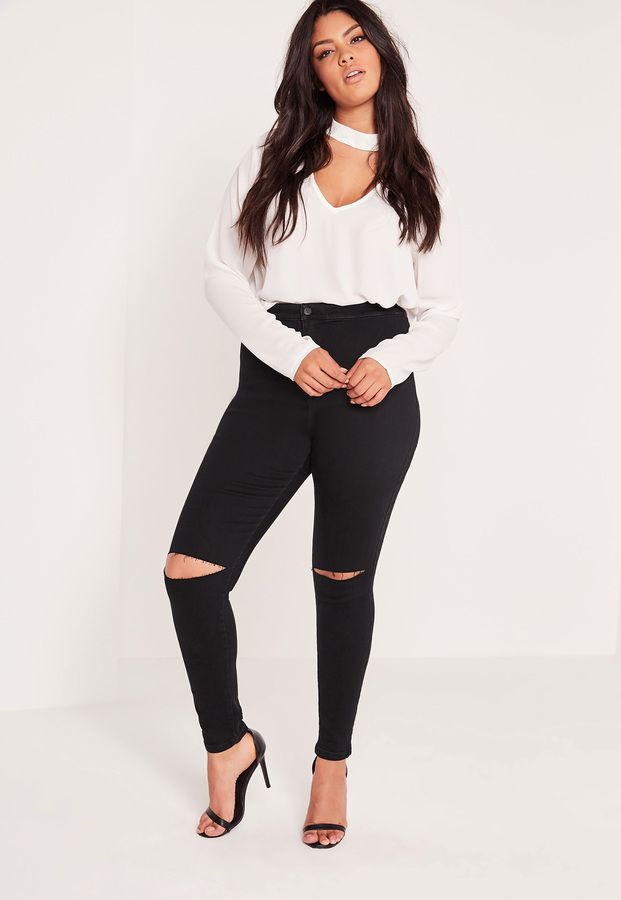 33d013a371a Plus Size Super Stretch High Waisted Ripped Skinny Jeans Black ...