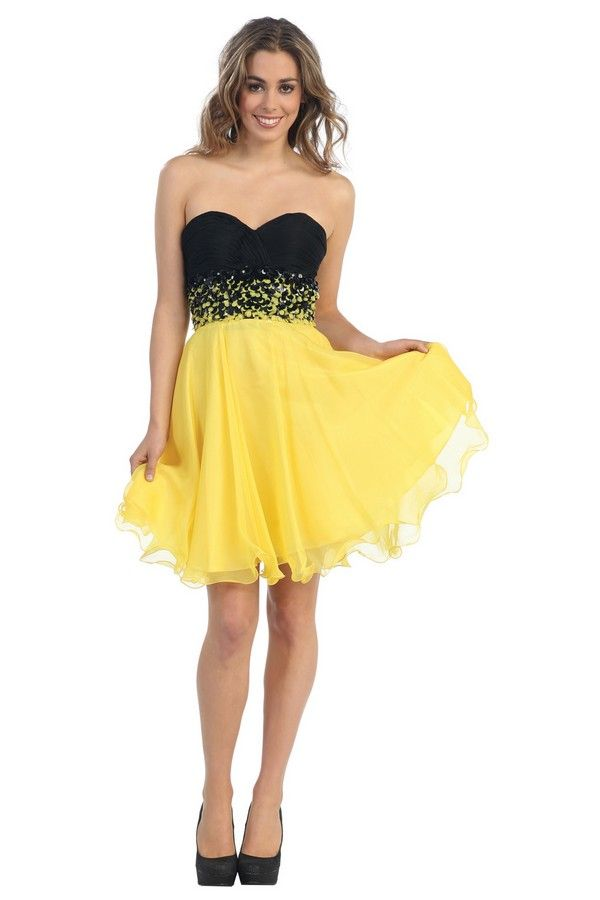 1e1be780e72 robes gallery robe soiree cocktail courte 01872d jaune