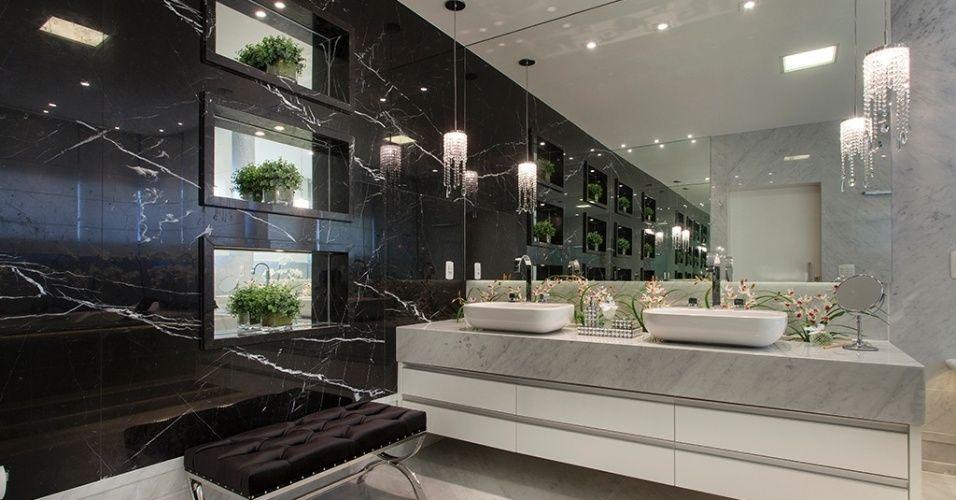 banheiros m rmore preto pendente de cristal e m rmore