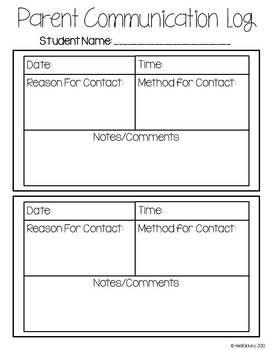 Parent Communication Form Freebie  New Teachers
