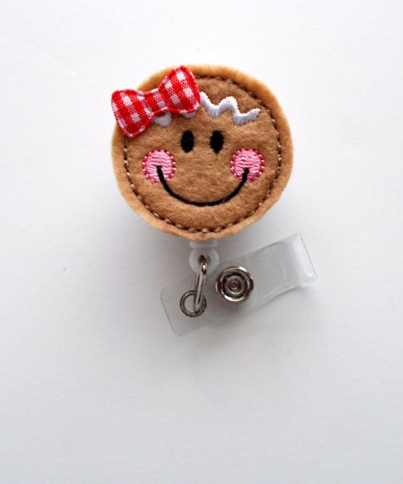 Gingerbread Cutie - Retractable ID Felt Badge Holder - Holiday Badge