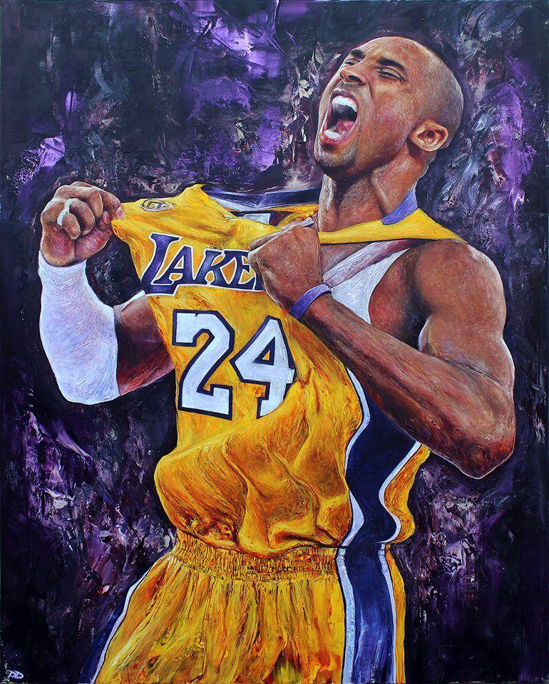 """Kobe Bryant, 48"""" x 60"""" acrylic on canvas by Paul Daniels"""