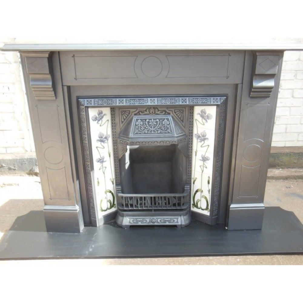 078 original victorian fireplace slate fire surround and tiled