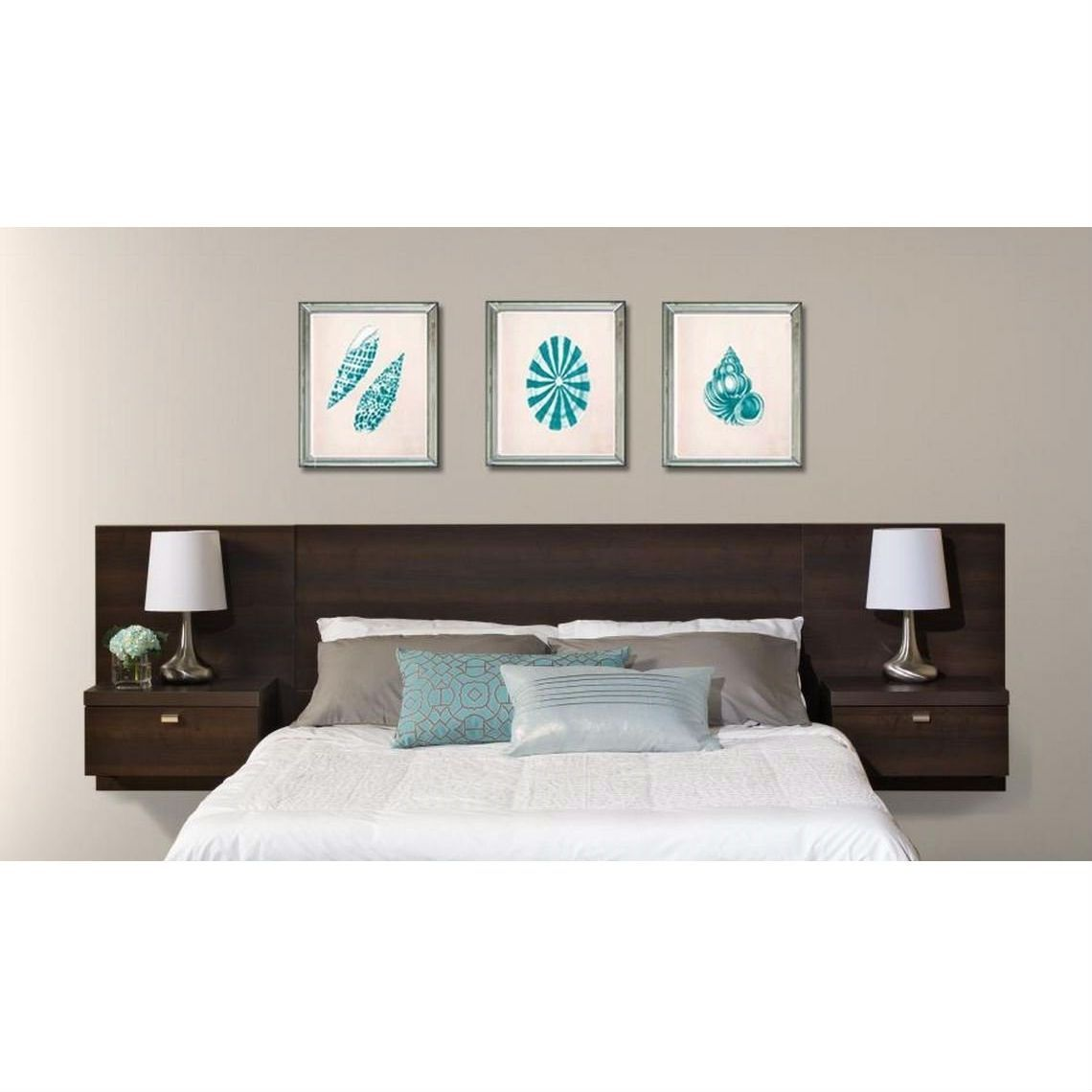 King Size Floating Headboard with Nightstands in Espresso | Cabecera ...