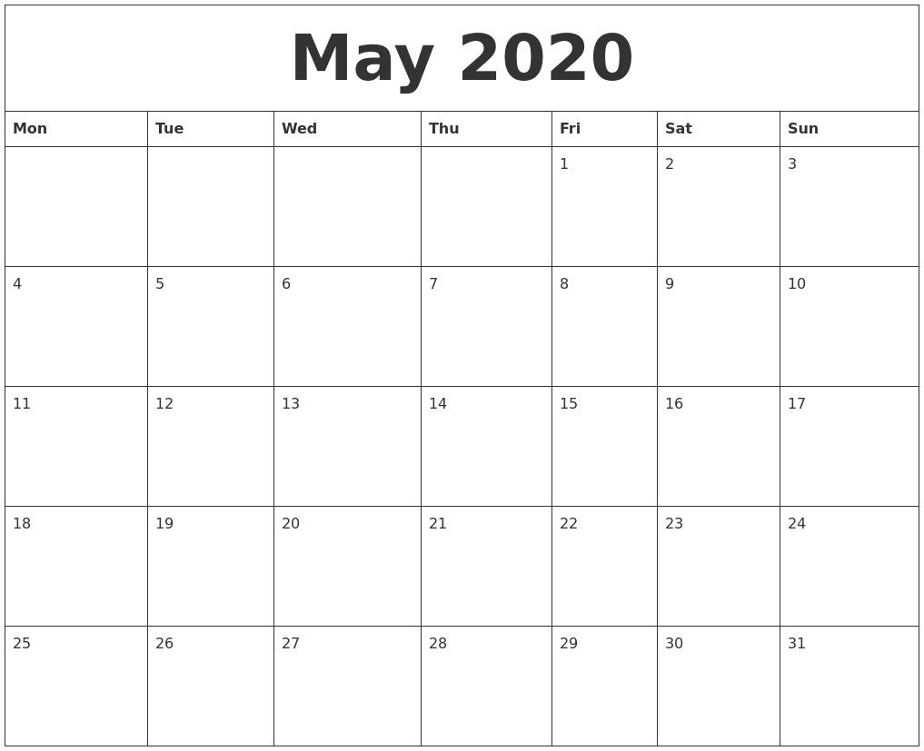 May 2020 Free Printable Monthly Calendar 2020 Calendar Templates And Images June 2020 Calendar Best Collection Of Printable Calendars August 2020 Calendar 56 Ca