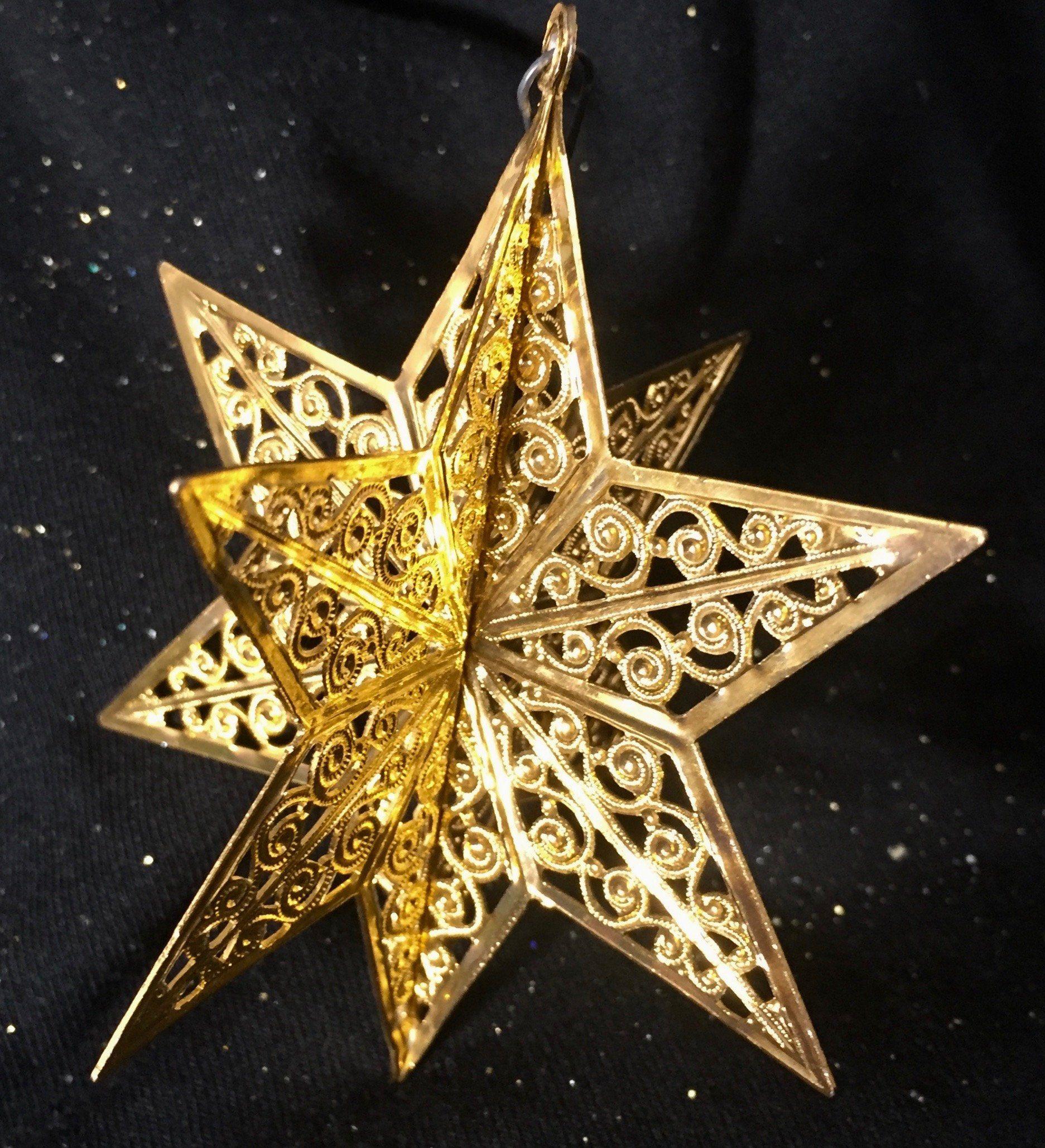 On Sale Brass Filigree Star Ornament Vintage | Star