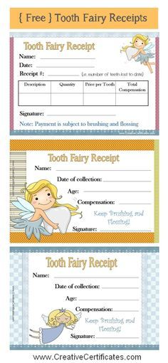 Free printable tooth fairy receipts certificates Pinterest - free printable receipts
