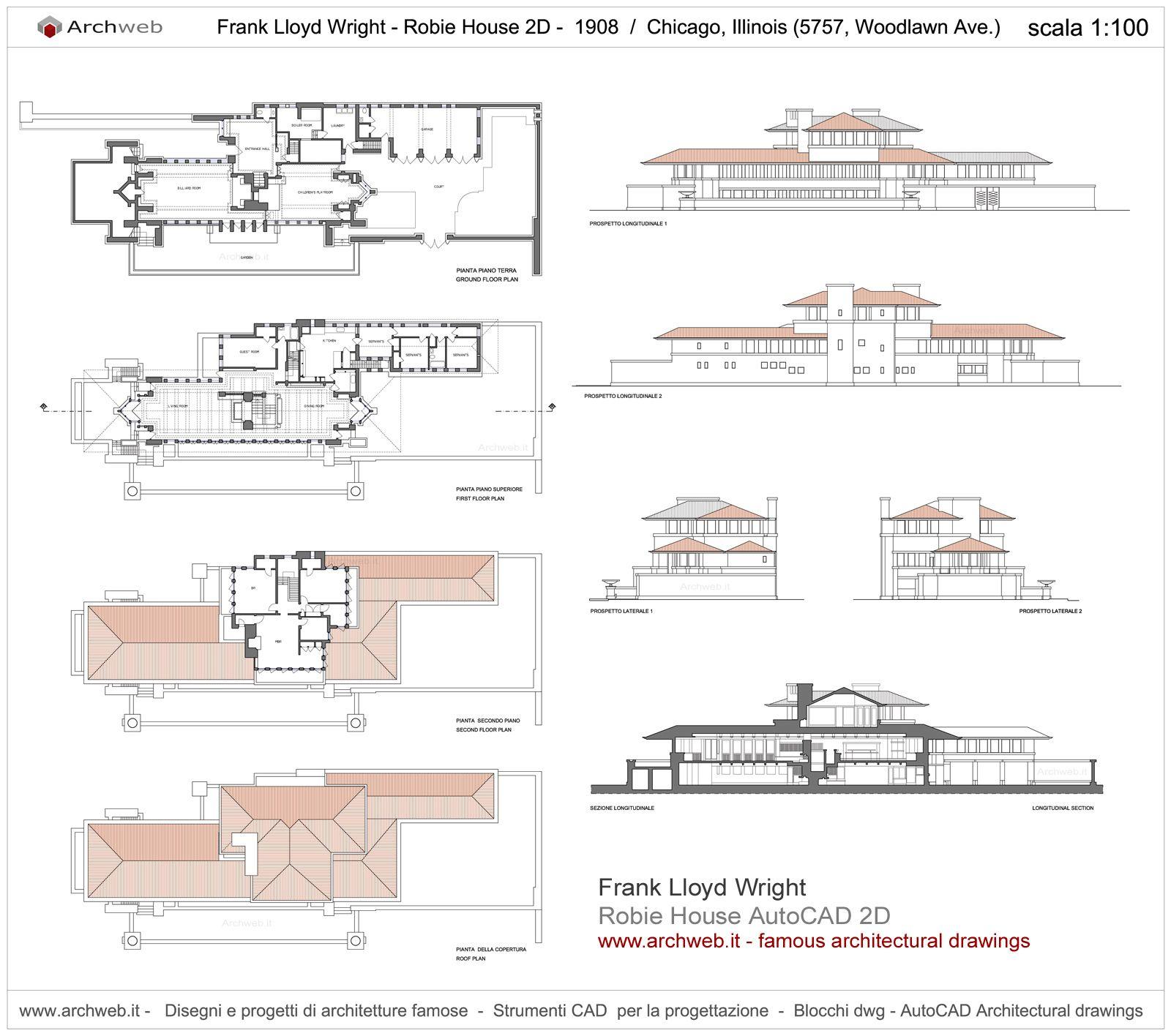 Robie House Chicago IL 1908  Frank Lloyd Wright  Archweb 2D  archi  Frank Lloyd Wright  Frank lloyd wright homes House blueprints e