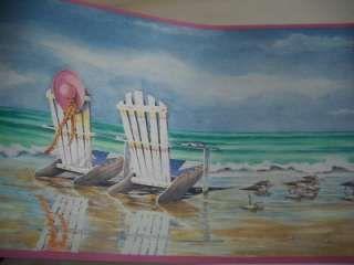 Beach Scene Adirondack Chairs Wallpaper Border Denis Pearl Wallpaper Beach Wallpaper Wallpaper