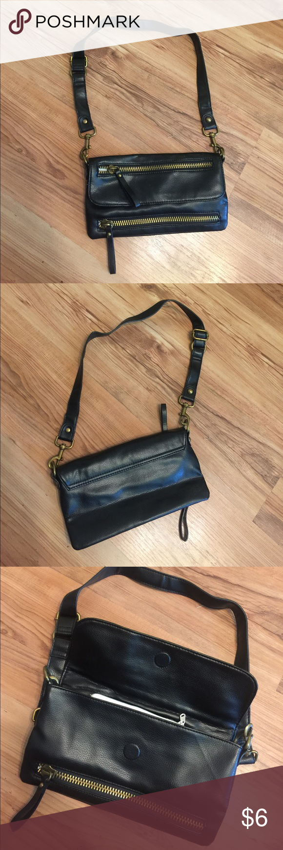 Black double zipper cross body Like new no flaws, strap detachable Bags Crossbody Bags