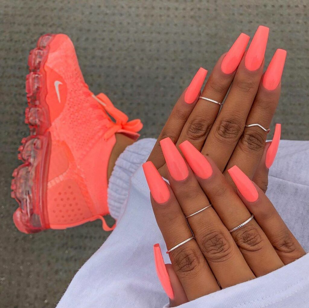 Follow Sneaker Queen Sherlinanym Ig To Get Trendy Nails Color S Neon Pastel Pink Neon Coral Nails Best Acrylic Nails Neon Nails