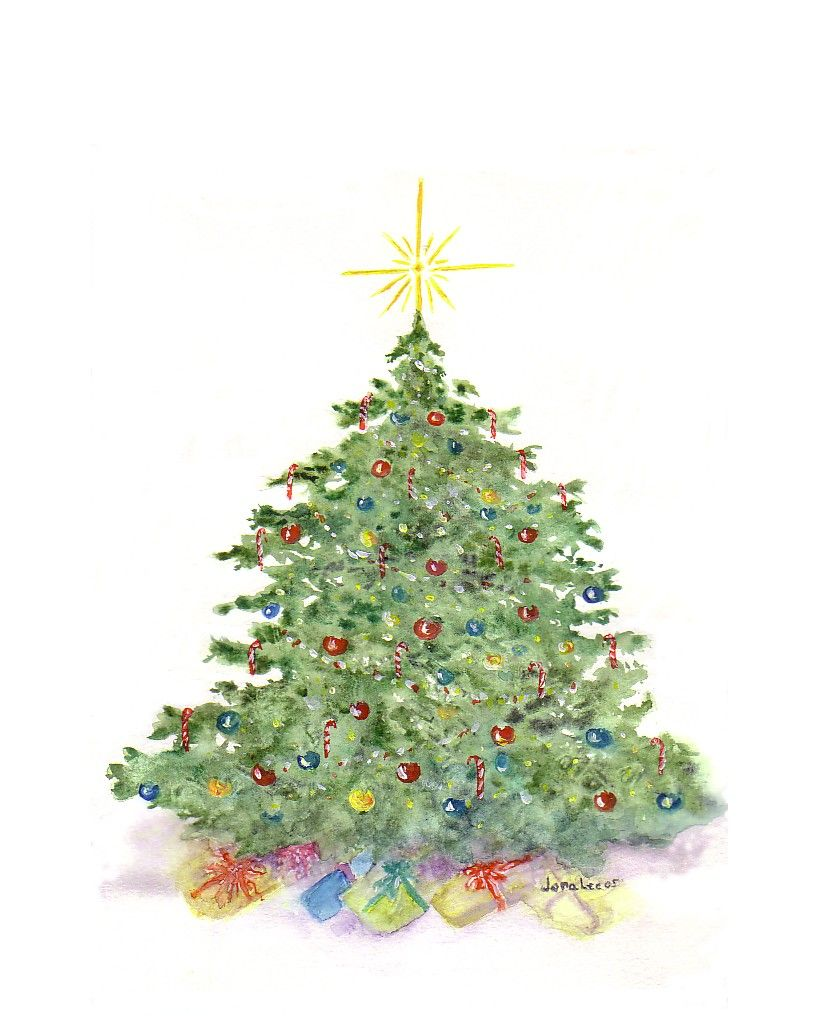 Watercolour Christmas Tree: CHRISTMAS WATERCOLOR ART - Google Search